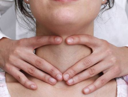Как пальпируется перешеек щитовидной железы и ее доли?